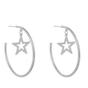 Silver Tone Star Earrings Trendy Ear Stud New